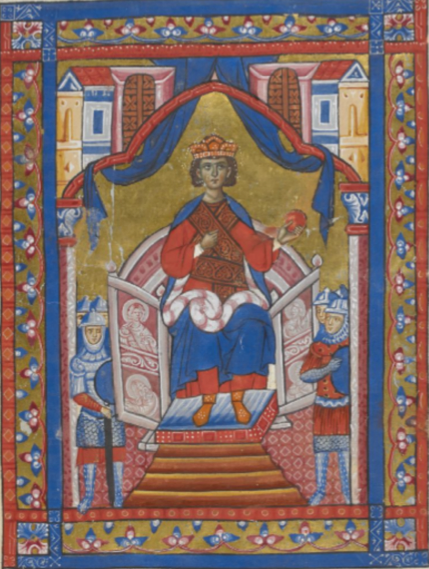 King Ninus enthroned. British Library, Add. 15268, f. 16r. Reproduced with permission from the British Library Board.