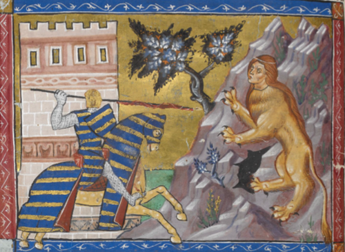Oedipus fights the Sphinx. British Library, Add. 15268, f. 77v. Reproduced with permission from the British Library Board.